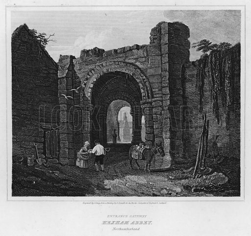 Entrance Gateway, Hexham Abbey, Northumberland. Illustration for The Border Antiquities of England and Scotland by Walter Scott (Longman et al, 1814).
