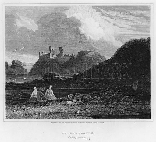 Dunbar Castle, Haddingtonshire. Illustration for The Border Antiquities of England and Scotland by Walter Scott (Longman et al, 1814).