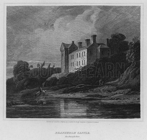 Branxholm Castle, Roxburghshire. Illustration for The Border Antiquities of England and Scotland by Walter Scott (Longman et al, 1814).