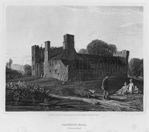 Yanwath Hall, Westmoreland. Illustration for The Border Antiquities of England and Scotland by Walter Scott (Longman et al, 1814).