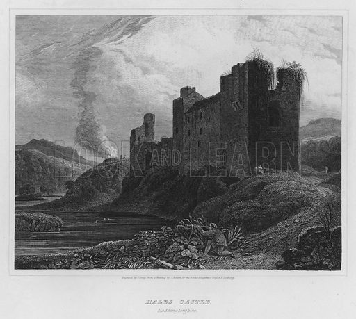 Hales Castle, Haddingtonshire. Illustration for The Border Antiquities of England and Scotland by Walter Scott (Longman et al, 1814).