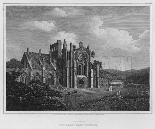 South Front, Melrose Abbey Church. Illustration for The Border Antiquities of England and Scotland by Walter Scott (Longman et al, 1814).