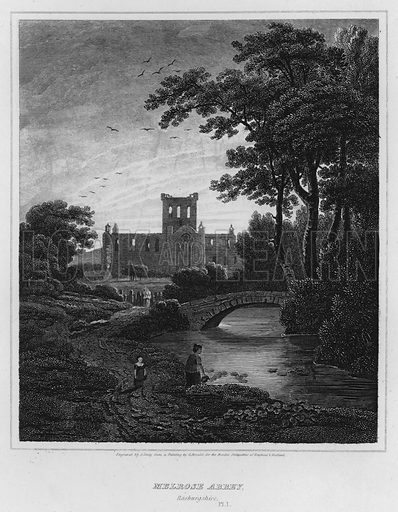 Melrose Abbey, Roxburgshire. Illustration for The Border Antiquities of England and Scotland by Walter Scott (Longman et al, 1814).