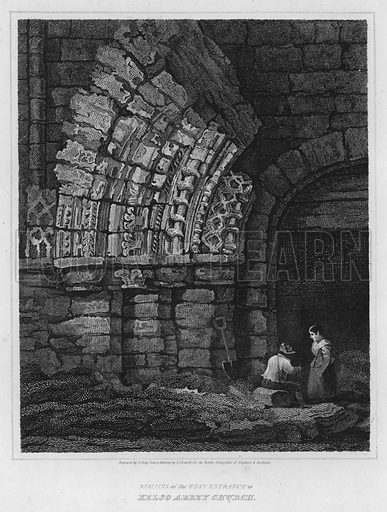 Remains of the West Entrance to Kelso Abbey Church. Illustration for The Border Antiquities of England and Scotland by Walter Scott (Longman et al, 1814).