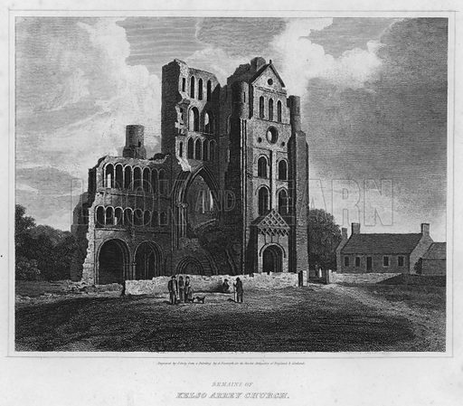 Remains of Kelso Abbey Church. Illustration for The Border Antiquities of England and Scotland by Walter Scott (Longman et al, 1814).
