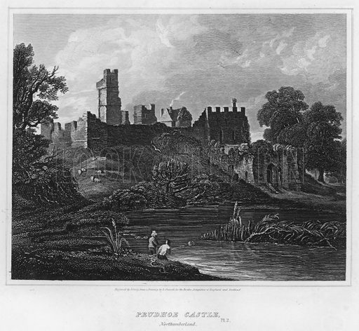 Prudhoe Castle, Northumberland. Illustration for The Border Antiquities of England and Scotland by Walter Scott (Longman et al, 1814).