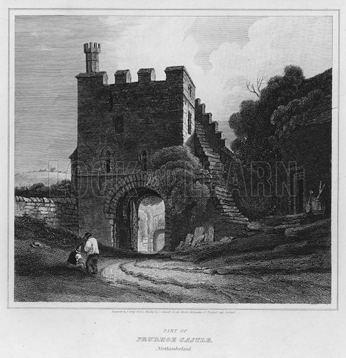 Part of Prudhoe Castle, Northumberland. Illustration for The Border Antiquities of England and Scotland by Walter Scott (Longman et al, 1814).