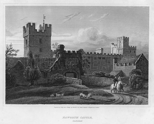 Naworth Castle, Cumberland. Illustration for The Border Antiquities of England and Scotland by Walter Scott (Longman et al, 1814).