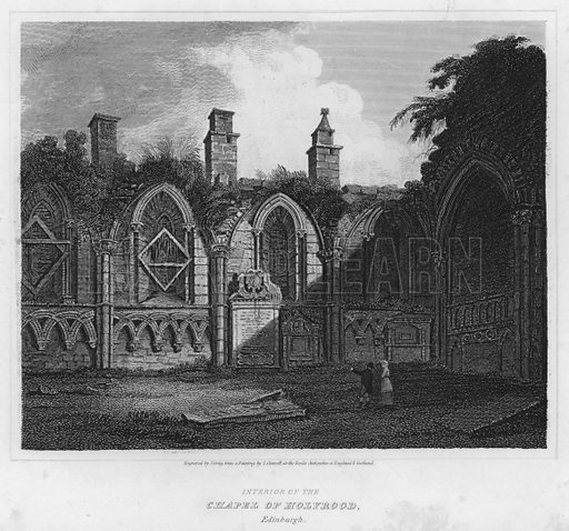 Interior of the Chapel of Holyrood, Edinburgh. Illustration for The Border Antiquities of England and Scotland by Walter Scott (Longman et al, 1814).