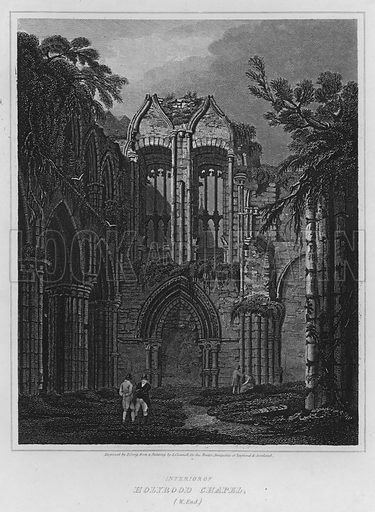 Interior of Holyrood Chapel, West End. Illustration for The Border Antiquities of England and Scotland by Walter Scott (Longman et al, 1814).