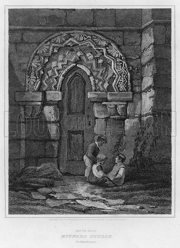 South Door, Mitford Church, Northumberland. Illustration for The Border Antiquities of England and Scotland by Walter Scott (Longman et al, 1814).