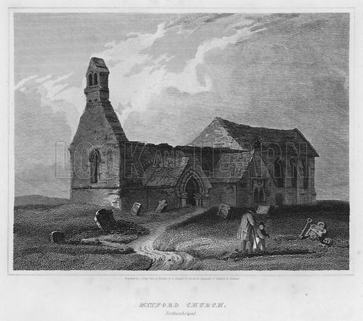 Mitford Church, Northumberland. Illustration for The Border Antiquities of England and Scotland by Walter Scott (Longman et al, 1814).