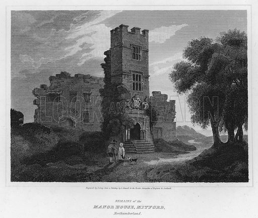 Remains of the Manor House, Mitford, Northumberland. Illustration for The Border Antiquities of England and Scotland by Walter Scott (Longman et al, 1814).