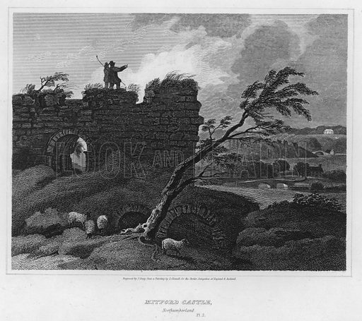 Mitford Castle, Northumberland. Illustration for The Border Antiquities of England and Scotland by Walter Scott (Longman et al, 1814).