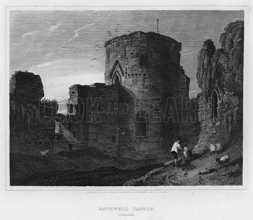 Bothwell Castle, Clydesdale. Illustration for The Border Antiquities of England and Scotland by Walter Scott (Longman et al, 1814).