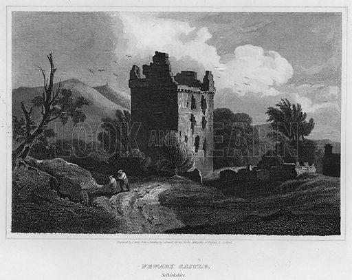 Newark Castle, Selkirkshire. Illustration for The Border Antiquities of England and Scotland by Walter Scott (Longman et al, 1814).