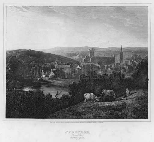 Jedburgh, General View, Roxburghshire. Illustration for The Border Antiquities of England and Scotland by Walter Scott (Longman et al, 1814).