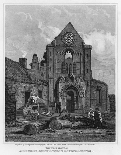 The West Front of Jedburgh Abbey Church Roxburghshire. Illustration for The Border Antiquities of England and Scotland by Walter Scott (Longman et al, 1814).