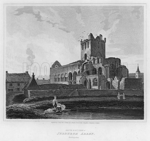 South East View of Jedburgh Abbey, Roxburgshire. Illustration for The Border Antiquities of England and Scotland by Walter Scott (Longman et al, 1814).