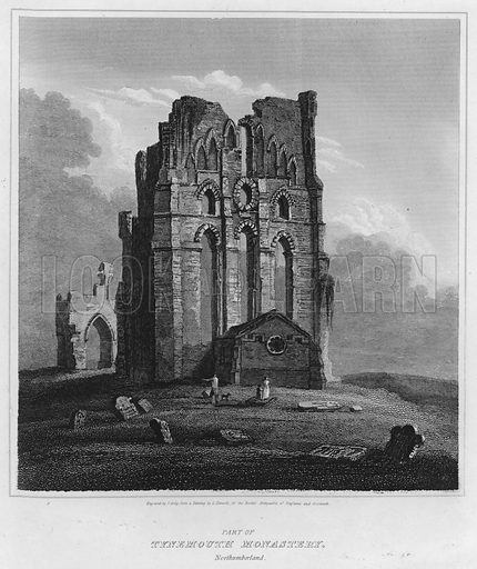 Part of Tynemouth Monastery, Northumberland. Illustration for The Border Antiquities of England and Scotland by Walter Scott (Longman et al, 1814).