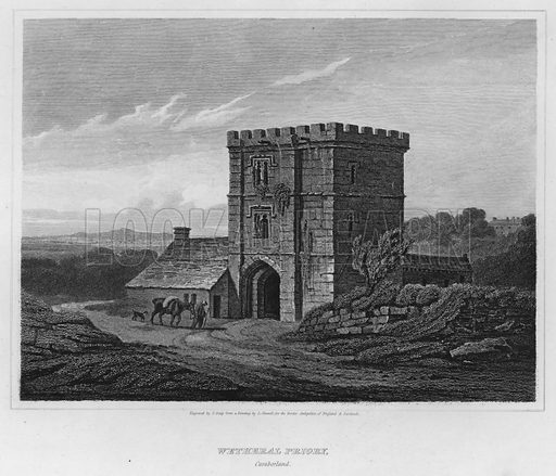 Wetheral Priory, Cumberland. Illustration for The Border Antiquities of England and Scotland by Walter Scott (Longman et al, 1814).