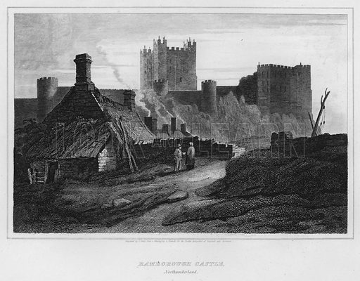 Bamborough Castle, Northumberland. Illustration for The Border Antiquities of England and Scotland by Walter Scott (Longman et al, 1814).