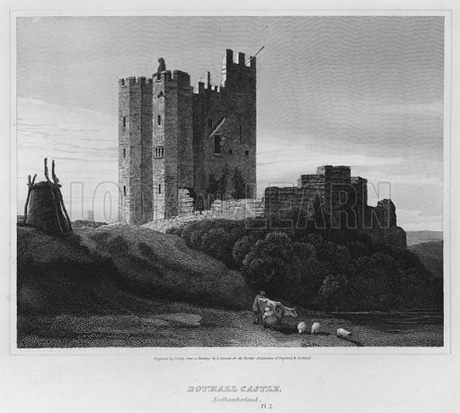 Bothall Castle, Northumberland. Illustration for The Border Antiquities of England and Scotland by Walter Scott (Longman et al, 1814).