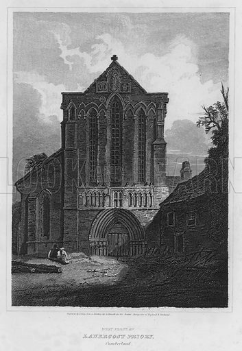 West Front of Lanercost Priory, Cumberland. Illustration for The Border Antiquities of England and Scotland by Walter Scott (Longman et al, 1814).