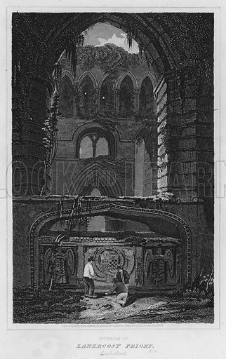 Interior of Lanercost Priory, Cumberland. Illustration for The Border Antiquities of England and Scotland by Walter Scott (Longman et al, 1814).