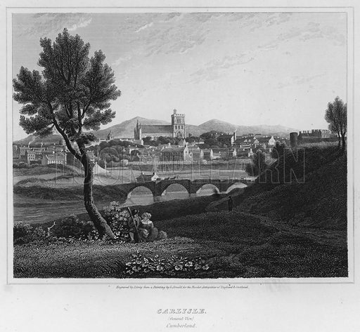 Carlisle, General View, Cumberland. Illustration for The Border Antiquities of England and Scotland by Walter Scott (Longman et al, 1814).