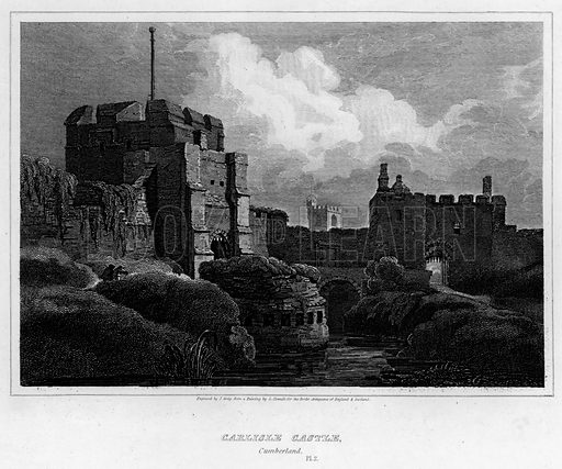 Carlisle Castle, Cumberland. Illustration for The Border Antiquities of England and Scotland by Walter Scott (Longman et al, 1814).