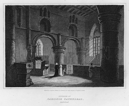 Interior of Carlisle Cathedral, Cumberland. Illustration for The Border Antiquities of England and Scotland by Walter Scott (Longman et al, 1814).