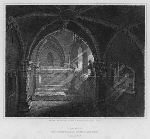 The Interior of Warkworth Hermitage, Northumberland. Illustration for The Border Antiquities of England and Scotland by Walter Scott (Longman et al, 1814).