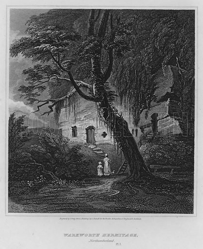 Warkworth Hermitage, Northumberland. Illustration for The Border Antiquities of England and Scotland by Walter Scott (Longman et al, 1814).