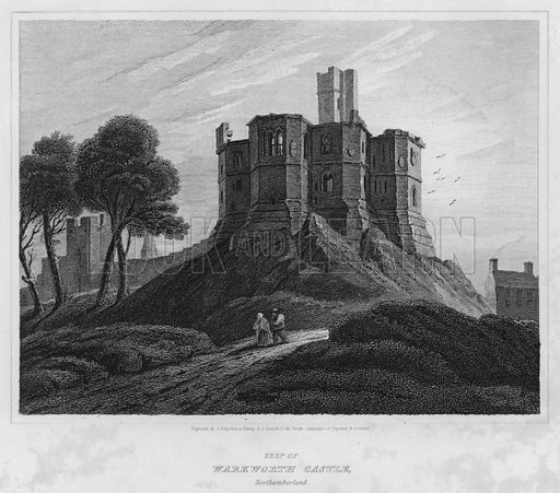Keep of Warkworth Castle, Northumberland. Illustration for The Border Antiquities of England and Scotland by Walter Scott (Longman et al, 1814).