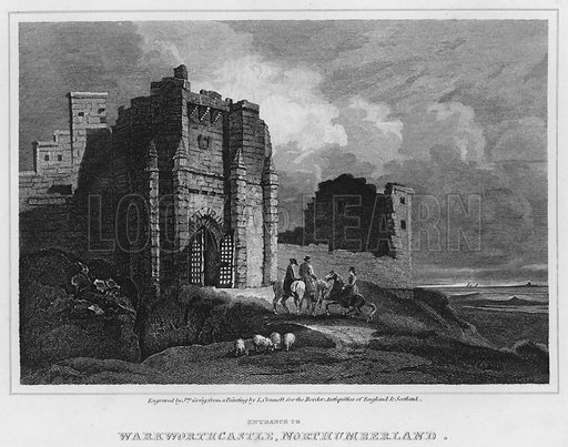 Entrance to Warkworth Castle, Northumberland. Illustration for The Border Antiquities of England and Scotland by Walter Scott (Longman et al, 1814).