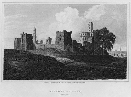 Warkworth Castle, Northumberland. Illustration for The Border Antiquities of England and Scotland by Walter Scott (Longman et al, 1814).