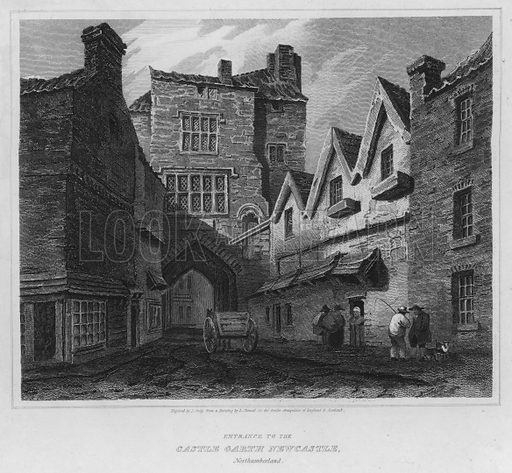 Entrance to the Castle Garth Newcastle, Northumberland. Illustration for The Border Antiquities of England and Scotland by Walter Scott (Longman et al, 1814).