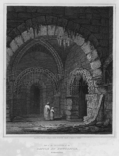 Part of the Interior of the Castle at Newcastle, Northumberland. Illustration for The Border Antiquities of England and Scotland by Walter Scott (Longman et al, 1814).
