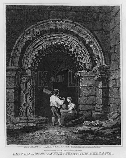 An Ornamented Doorway in the Castle, at Newcastle, Northumberland. Illustration for The Border Antiquities of England and Scotland by Walter Scott (Longman et al, 1814).