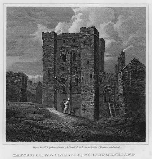 The Castle, at Newcastle, Northumberland. Illustration for The Border Antiquities of England and Scotland by Walter Scott (Longman et al, 1814).