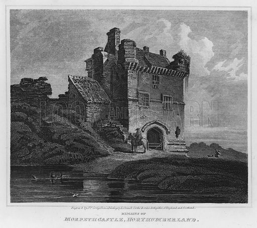 Remains of Morpeth Castle, Northumberland. Illustration for The Border Antiquities of England and Scotland by Walter Scott (Longman et al, 1814).