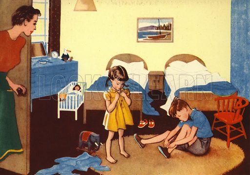 Getting up. Illustration for At Home by E R Boyce (Macmillan, c 1950).