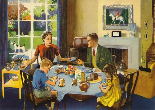 Breakfast time. Illustration for At Home by E R Boyce (Macmillan, c 1950).