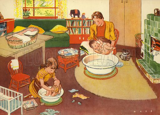 Bathing the babies. Illustration for At Home by E R Boyce (Macmillan, c 1950).