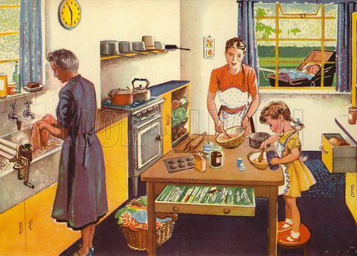 In the kitchen. Illustration for At Home by E R Boyce (Macmillan, c 1950).