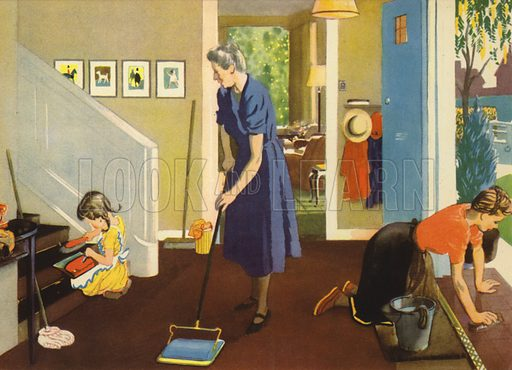 Cleaning. Illustration for At Home by E R Boyce (Macmillan, c 1950).