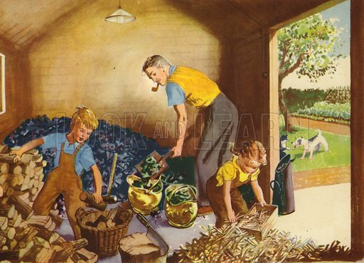Helping Daddy. Illustration for At Home by E R Boyce (Macmillan, c 1950).