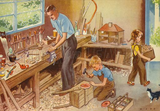 In Daddy's workshop. Illustration for At Home by E R Boyce (Macmillan, c 1950).