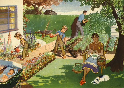In the garden. Illustration for At Home by E R Boyce (Macmillan, c 1950).
